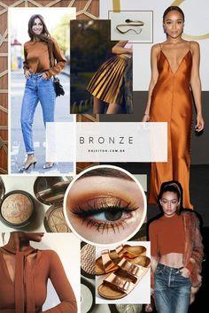 Que tal acompanhar oe stilo das olimpíadas e adotar um look com elementos em bronze? Da maquiagem ao sapato, as opções são inúmeras.