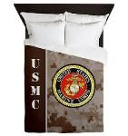 USMC Camo -Desert Marpat Queen Duvet, perfect if decorating a Marine Corps bedroom. My son doesn't like sleeping under his Marine Corps comforter, he thinks it's weird, but he's not here most of the time either.