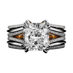 Double-Shank Floating Radiant-Cut Diamond Ring | See more rare vintage Bridal Rings at https://www.1stdibs.com/jewelry/rings/bridal-rings