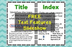 FREE Nonfiction Text Features Slideshow for elementary students - shows the name, purpose, and gives an example for 18 different text features.