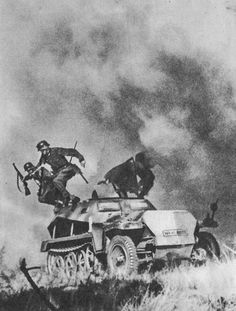 A German Half track being attacked- Eastern Front.