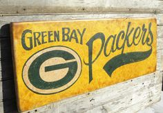 Green Bay Packers  Sign, original wooden sign, hand lettered, faux vintage, art, wall hanging,. $95.00, via Etsy.