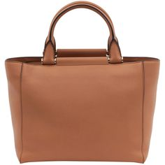 MaxMara Tan Leather Structured Tote ($1,335) ❤ liked on Polyvore featuring bags, handbags, tote bags, brown, handbags totes, genuine leather tote, leather tote, zippered tote and brown tote bag