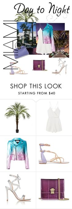 """""""Day to Night"""" by rasc2016 ❤ liked on Polyvore featuring Nearly Natural, MANGO, Yves Saint Laurent, René Caovilla, Gianvito Rossi, Roberto Cavalli, Fendi, DayToNight and romper"""