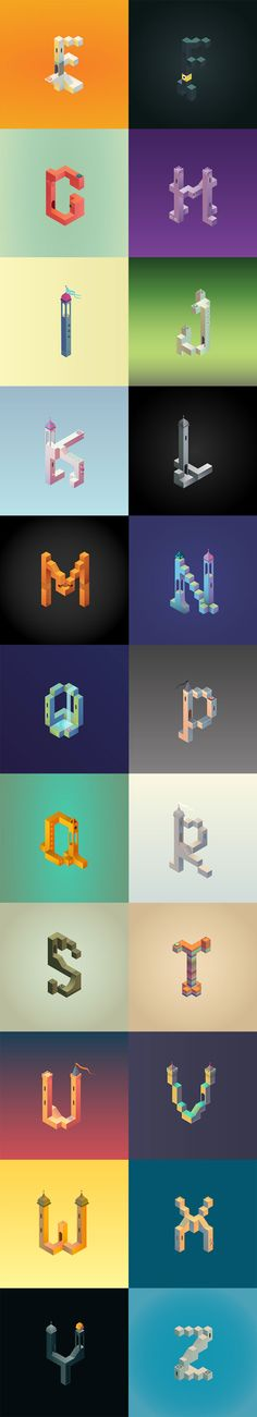 Monument Valley inspired alphabet (Part : clau. Isometric Art, Isometric Design, Typography Inspiration, Graphic Design Inspiration, Lettering Design, Hand Lettering, Monument Valley Game, 3d Typography, Design Reference