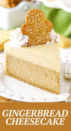 This Gingerbread Cheesecake recipe is made with a delicious shortbread crust, gingerbread cheesecake filling and a molasses mousse topping! It's the perfect easy dessert recipe for the holidays!