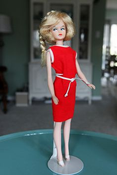 Tressy doll. You could lengthen her hair, color it, put make-up on her face, plus her legs would bend at the knees.