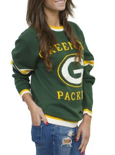 NFL Green Bay Packers Unisex Throwback Intarsia Sweater - Women's Collections - NFL - All - Junk Food Clothing