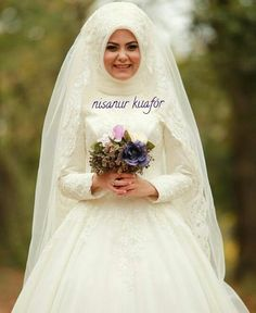 Bridal Hijab, Muslim Wedding Dresses, Muslim Brides, Wedding Hijab, Wedding Dress Sleeves, Muslimah Wedding, Princess Girl, Hijab Dress, Marriage
