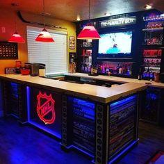 Unreal home bar here. home bar here. Unreal home bar here. Hockey Man Cave, Sports Man Cave, Hockey Room, Hockey Decor, Hockey Nursery, Hockey Baby, Field Hockey, Basement Sports Bar, Game Room Basement