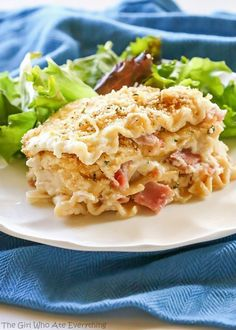 Chicken Cordon Bleu Lasagna - comfort food at its best. Layers of ham, chicken, and creamy white sauce make for a tasty dinner. www.the-girl-who-ate-everything.com