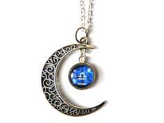 Gliederketten - Kette Sternzeichen Waage & Name in Mond - ein Designerstück von csoMunich bei DaWanda