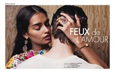 Gizele Oliveira and Johann Camboulive star in a jewelry story photographed for ELLE France