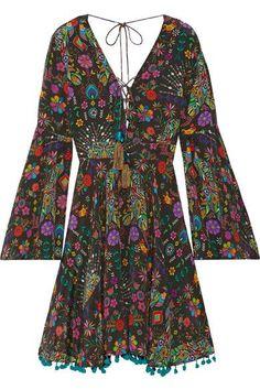 Matthew Williamson - Pampas Peacock Pompom-embellished Printed Silk Crepe De Chine Mini Dress - Black