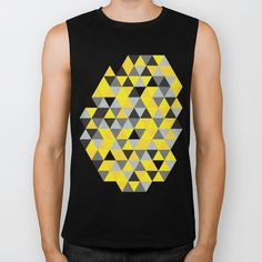 Sunny Yellow and Grey / Gray - Hipster Geometric Triangle Pattern Biker Tank by pelaxy Triangle Pattern, Sunnies, Biker, Arm, Boyfriend, Muscle, Hipster, Deep, Traditional
