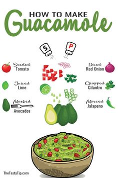 Learn how to make guacamole with 3 steps for success. Choose the right avocado, choose your spice level and choose add-in wisely. How To Make S, Food To Make, Recipe Drawing, Foundant, How To Make Guacamole, Onion Juice, Doterra Recipes, Magic Recipe, Food Journal
