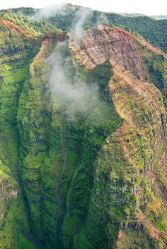 A deep vertical view of Waimea Canyon in Kauai, Hawaii