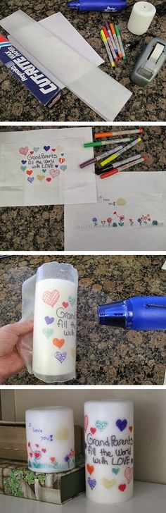 DIY Personalized Candle - kids or grand-kids can make and give as a gift. Sorry no link or directions other than the picture tutorial shown. Kids draw picture on wax paper then wrap it around a white candle and heat with a heat gun or hair dryer, until it melts onto the candle. Neat idea.