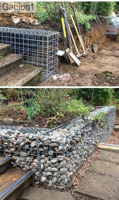 small gabion retaining wall construction, no concrete foundation required. http://www.gabion1.co.uk