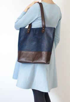 Leather navy blue/ dark brown color blocking tote bag , woman handbag, big bag, market tote leather bag, oversized bag, genuine leather bag