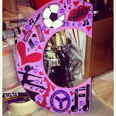 C for girl who loves soccer, peace, hearts, dance and music