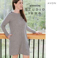 Avon Fashion, Fashion 2020, Fall Fashion, Self Image, Black Button, Knit Dress, Studio, Medium, Cashmere