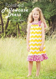 Learn how to sew a Pillowcase Dress (free Pillowcase Dress pattern & tutorial) - Scattered Thoughts of a Crafty Mom by Jamie Sanders Sewing Kids Clothes, Sewing For Kids, Diy Clothes, Kids Clothing, Sewing Patterns Free, Free Sewing, Clothing Patterns, Free Pattern, Pillowcase Dress Pattern