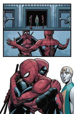 Isn't this from the comics? Disney Marvel, Marvel Art, Marvel Dc Comics, Marvel Heroes, Marvel Avengers, Deadpool X Spiderman, Spiderman Art, Marvel Jokes, Marvel Funny
