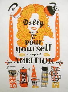 Dolly Parton Screenprint - Hand Printed Silkscreen Poster - Mid-Century - Coffee - Kitchen Art