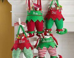 Nombre de elfo medias pantalón de Elf bordados Navidad
