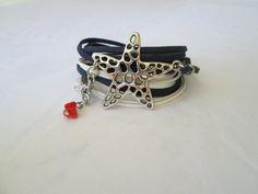 Suede Leather Bracelet/Necklace, Freeshipping, Starfish Charm, Boho wrap bracelet, Personalized Cuff bracelet by TurquoiseJewel on Etsy