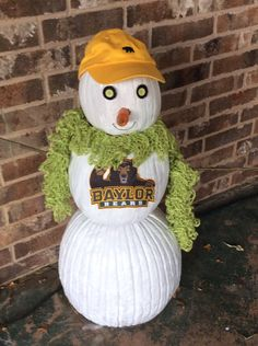Repurpose your pumpkins from October by painting them white and making a #BaylorProud snowman for Christmas!