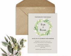 All Purpose Olive Branch White Flower Wreath Template, Printable Shower Wedding Invitation Template, Vistaprint, DIY PDF Instant Download