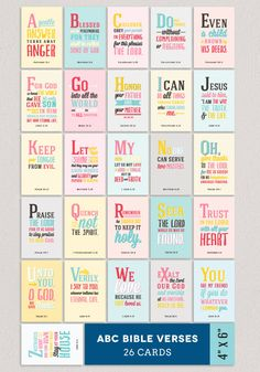 ABC Verses A to Z Bible Verses for Children 26 4x6 by Huetopia (etsy)