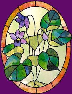 Delicate violets in stained glass. Stained Glass Patterns Free, Stained Glass Quilt, Making Stained Glass, Stained Glass Flowers, Stained Glass Crafts, Stained Glass Designs, Stained Glass Panels, Art Of Glass, Arte Pop