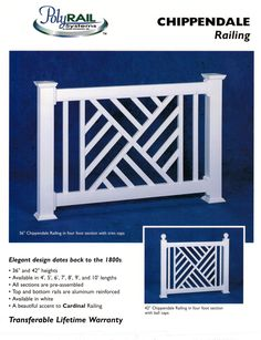 Vinyl railings by Digger Specialties, are reinforced with aluminum are engineered and code compliant. They come in pre-boxed sections for ease of installation. They are ideal for coastal locations,… Porch Railing Designs, Front Porch Railings, Balcony Railing Design, Deck Railings, Screened In Porch, Stair Railing, Fence Design, Door Design, Outdoor Railings