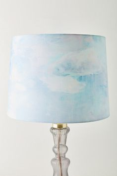 Lighting - Featuring a daydream-like sky in a soft color palette, this handmade lamp shade - designed by Camille Javal in collaboration with Anthropologie - is a beautiful . Blue Room Decor, Blue Rooms, Unique Lamps, Unique Lighting, Aesthetic Bedroom, Blue Aesthetic, Sky Lamp, Glass Lamp Base, Ocean Room