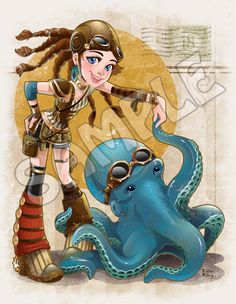 "Steampunk Octopus Dance by Kellee Riley,  8.5"" x 11"" print, signed by the artist"