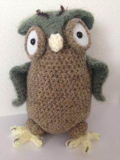 Crochet Owl Amigurumi Stuffed Animal Brown And Green by BABUKO