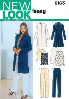 Beautiful Picture of Womens Sewing Patterns Womens Sewing Patterns Womens Jacket Top Pants Sewing Pattern 6163 New Look Patterns Coat Pattern Sewing, Easy Sewing Patterns, Jacket Pattern, Vintage Sewing Patterns, Simplicity Sewing Patterns, New Look Patterns, Coat Patterns, Clothing Patterns, Shirt Patterns