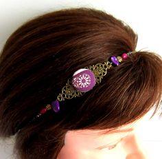 Headband bohème chic, bronze, violet, poupre, bijou de tête, collier, cabochon en tissu, howlite, verre, nacre : Accessoires coiffure par color-life-bijoux