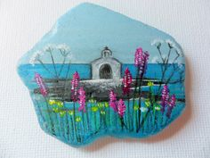 Ocean church - Acrylic miniature painting on English sea glass by ShePaintsSeaglass on Etsy