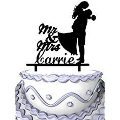 Meijiafei Personalized Wedding Cake Topper -Script Mr & Mrs Groom Hold Bride and Customized Your Name Anniversary Party Decoration Anniversary Party Decorations, Anniversary Parties, Personalized Wedding Cake Toppers, Wedding Cakes, Groom, Bride, Christmas Ornaments, Holiday Decor, Script