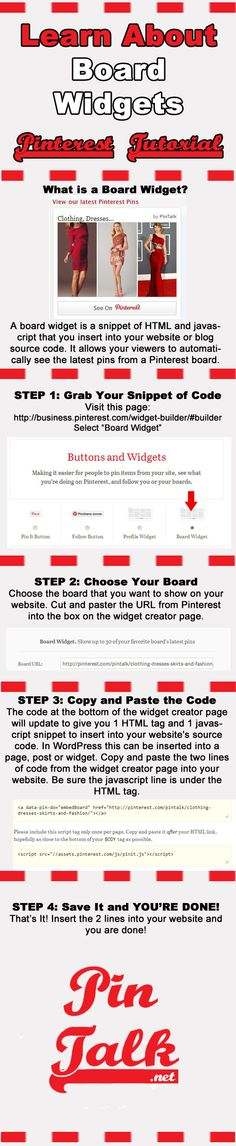 Tutorial #Pinterest Board Widgets [Infographic] Show off your latest pins automatically