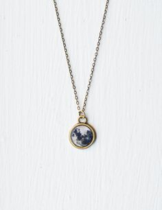 Full Moon Necklace- Real Moon Photograph Jewelry- Black & White- Bronze