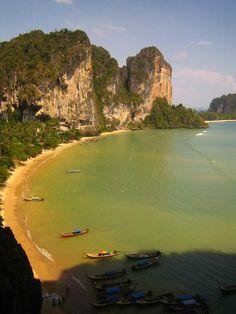 Railay Beach, Thailand.  Learned to lead climb here :D