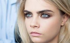 Cara Delevingne, portrait, model, makeup, blonde