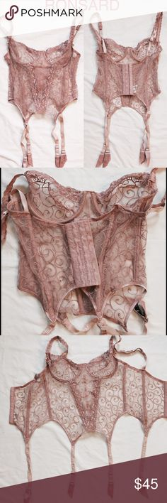 Vintage Ronsard Corset Lingerie New Listing So I raided my Mom's treasure chest of French lingerie (never worn) before my year aboard. This NWOT Ronsard number in blush is absolutely to die for. Size FR90B / US 34B. She purchased in France and estimates it at early 1990s, but online research puts Ronsard at 1960's... either way it's a find. Garter belt in same pattern also available separately. Ronsard Intimates & Sleepwear Bras