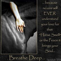 """...because no one will EVER understand your love for that """"Horse Smell"""" or the peace it brings your soul...  Breath Deep... <3"""