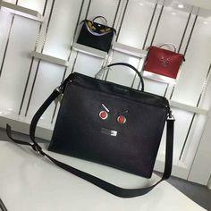 2016 A/W Fendi Black Fendi Faces Peekaboo Briefcase Bag for Men